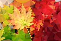polygon vector colored leaves - stock illustration