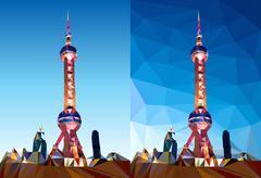 Shanghai Pearl Tower Polygon Vector Stock Illustration