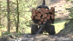 Log lifter driving - forestry  - stock footage