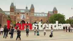 Amsterdam Famous Square tourists, Netherlands - stock footage