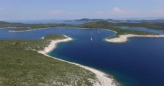 Panoramic, aerial scene with drone of a bay with boats. Dalamtian coast. Stock Footage