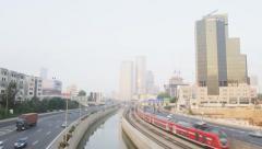Tel-Aviv trafic and railways-HD shot on RED - stock footage
