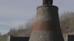 Valleys Guardian Statue Near Abertillery South Wales - stock footage