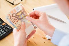 Accountant Counting Euros Stock Photos