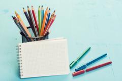 school stationary - stock photo