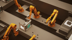 Robotic Arm Assembling Product - stock footage
