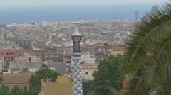 Blue and white tower with Barcelona behind it Stock Footage