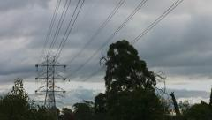 Power Lines on a Cloudy Day Stock Footage