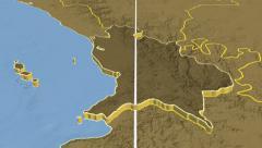 Nayarit - Mexico region extruded. Set of animations Stock Footage