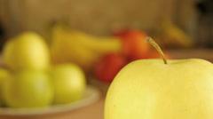 Green ripe big apple Stock Footage