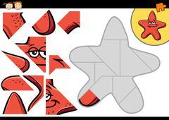 cartoon starfish jigsaw puzzle game - stock illustration