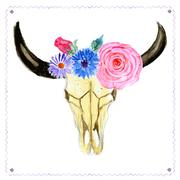 Watercolor skull with flowers in vintage style Stock Illustration