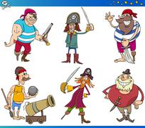 Pirates Cartoon Characters Set - stock illustration