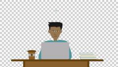Young guy man student at desk working studying thinking, mixed race, alpha Stock Footage