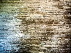 Brick wall corroded by salt Stock Photos