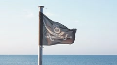 Pirate flag fluttering in the wind Stock Footage