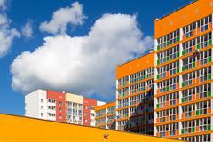 Bright Orange Modern Housing Apartments Stock Photos
