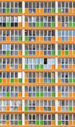 Orange and Green Modern Housing Apartments - stock photo