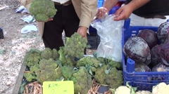 Choosing and buying broccoli Stock Footage