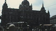 Graz 1978: traffic in front of the City hall (rathaus) Stock Footage