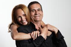 happy smiling senior couple, isolated on white - stock photo