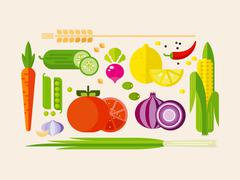 Stock Illustration of Vegetables in Flat Style