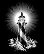 Stock Illustration of Lighthouse rough waves and rocks