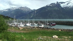 Alaska harbour with mountains Stock Footage