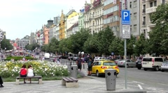 4K footage of the Wenceslas Square in Prague, Czech Republic Stock Footage