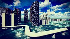 Tsunami devastating the city Stock Illustration