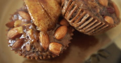 Quinoa Muffins Savory Breakfast Dessert with Banana & Almonds Stock Footage