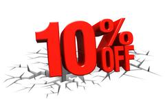 3D render red text 10 percent off on white crack hole floor. - stock illustration