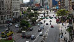 Timelapse View of Heavy Traffic in Central Sao Paulo, Brazil Stock Footage
