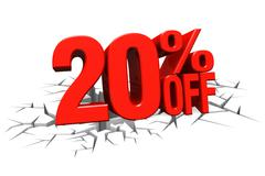 3D render red text 20 percent off on white crack hole floor. Stock Illustration