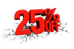 3D render red text 25 percent off on white crack hole floor. - stock illustration