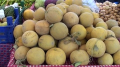 Heap of melon at the market - stock footage