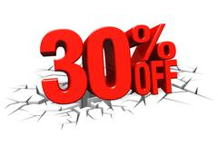 Stock Illustration of 3D render red text 30 percent off on white crack hole floor.