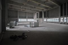 Large Empty Room Prior to Renovation Stage Stock Photos