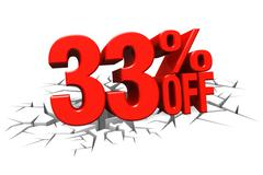 3D render red text 33 percent off on white crack hole floor. Stock Illustration