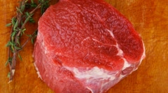 Red meat : two fresh beef fillet chops Stock Footage