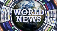 Stock Video Footage of World News, Earth and Monitors Tunnel, Loop, 4k
