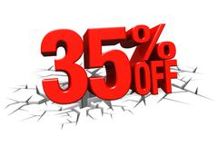 Stock Illustration of 3D render red text 35 percent off on white crack hole floor.