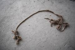 Old Warn Rope on Construction Dust Floor Stock Photos