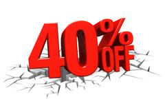 3D render red text 40 percent off on white crack hole floor. Stock Illustration