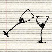 Set of cartoon style wine glass - stock illustration