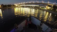 The night of the Moscow river Stock Footage
