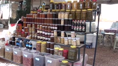 Homemade foodstuff at the market- Stock Footage