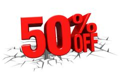 Stock Illustration of 3D render red text 50 percent off on white crack hole floor.