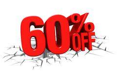 3D render red text 60 percent off on white crack hole floor. - stock illustration