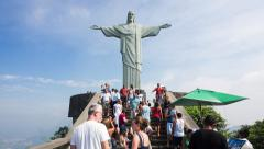 Timelapse View of Tourists at Christ the Redeemer Statue, Rio de Janeiro, Brazil Stock Footage